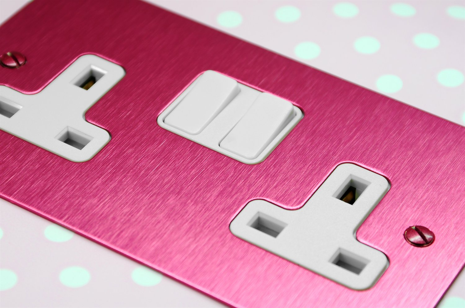 Wall Socket Switch 2 Gang 13 Amp Outlet Pink Aluminium Way To Example