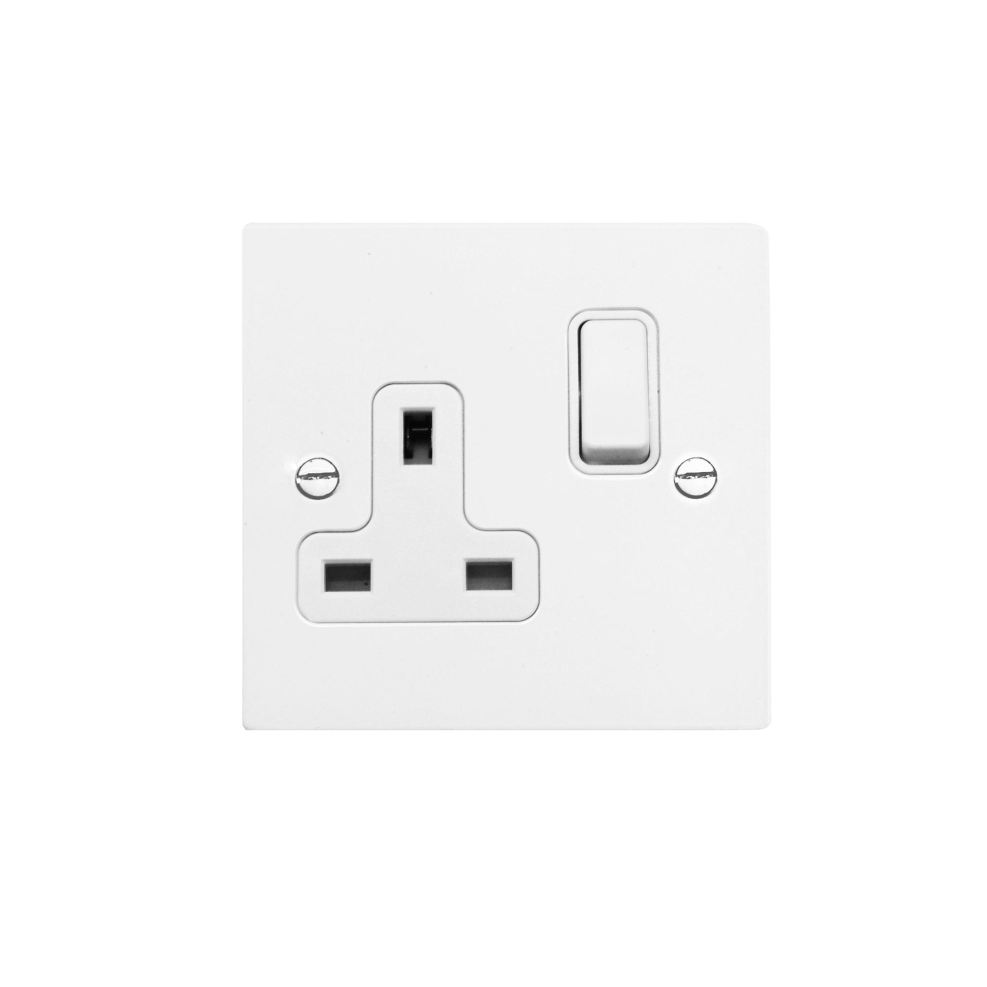 Wall Socket White Switch 1 Gang 13 Amp Outlet Satin Electrical Fuse Box Aluminium