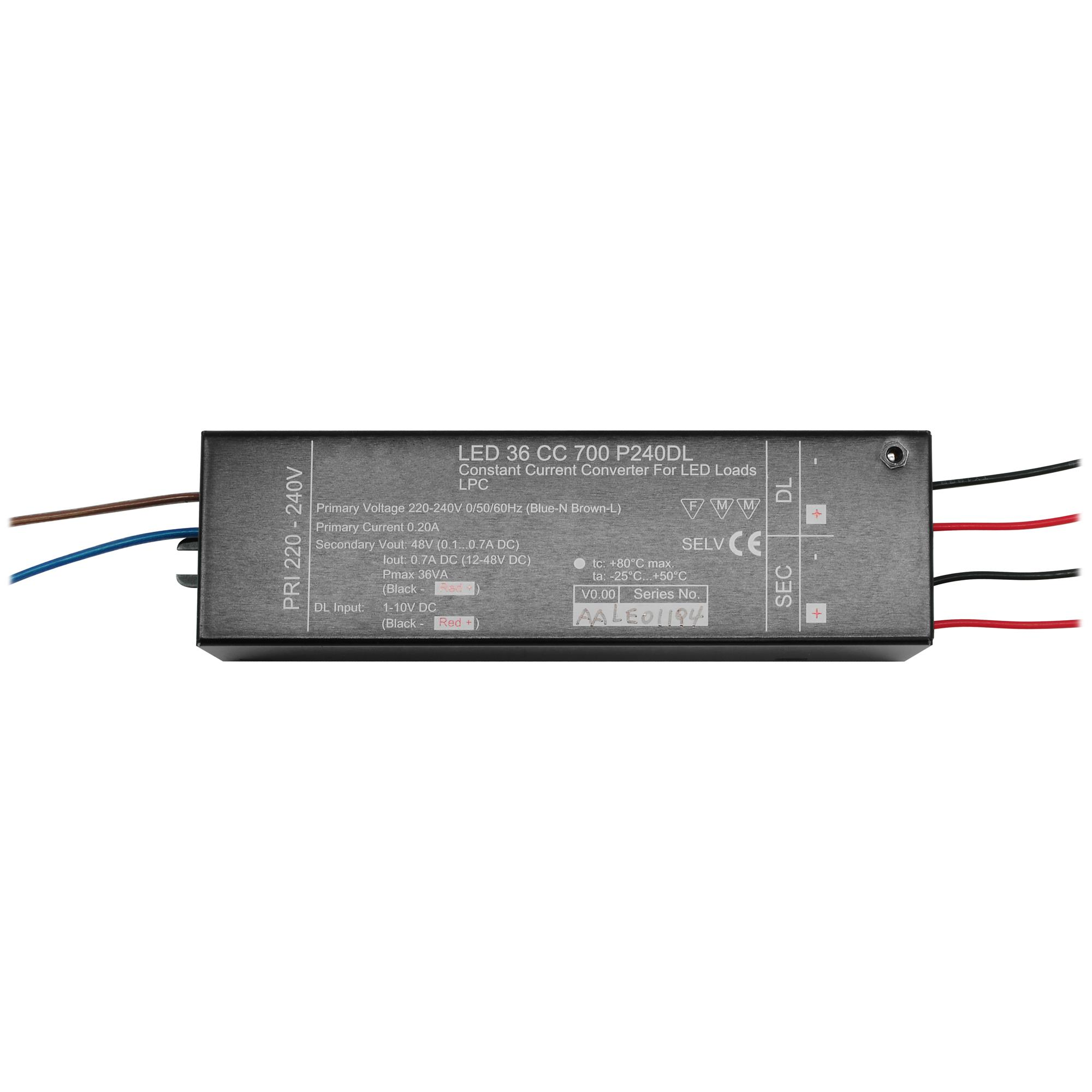 1-10V Dimmable LED Driver (Constant Current) Black 36W 700mA ...