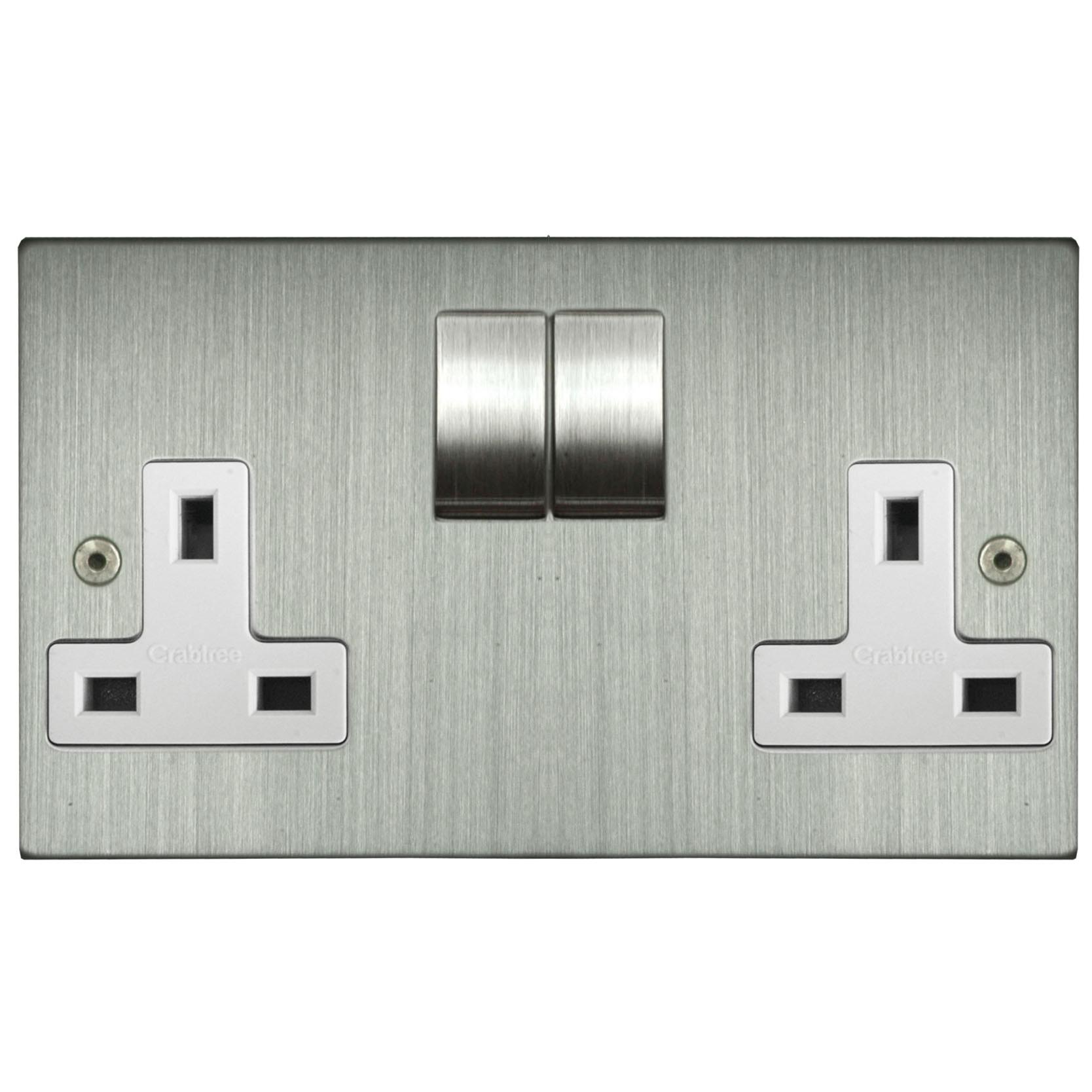 Wall Socket 2 Gang 13 Amp Switched Outlet Satin Nickel Wiring Cooker Switch