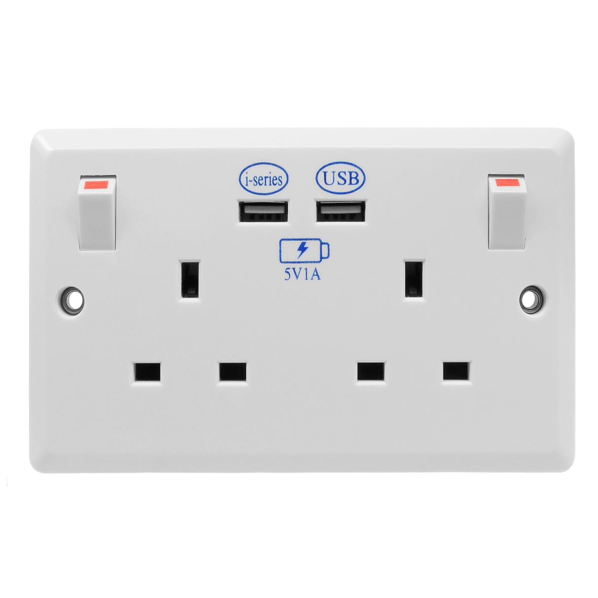 2 gang wall switch socket 2x usb charger 13 amp switched socket usb outlet white wireless. Black Bedroom Furniture Sets. Home Design Ideas