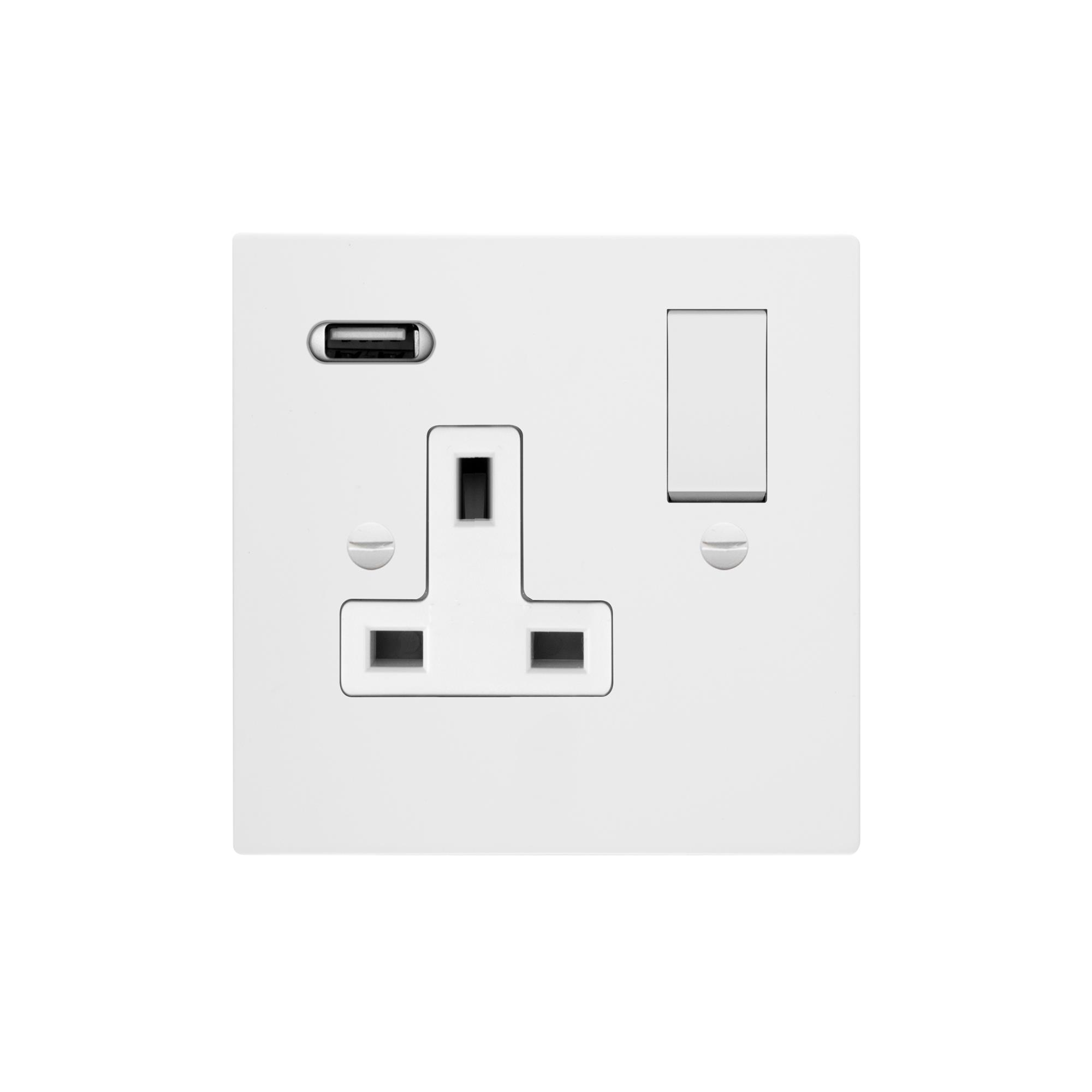 Switched Socket Outlet With Usb Charger 1 Gang 13 Amp Primed White Electrical Fuse Box