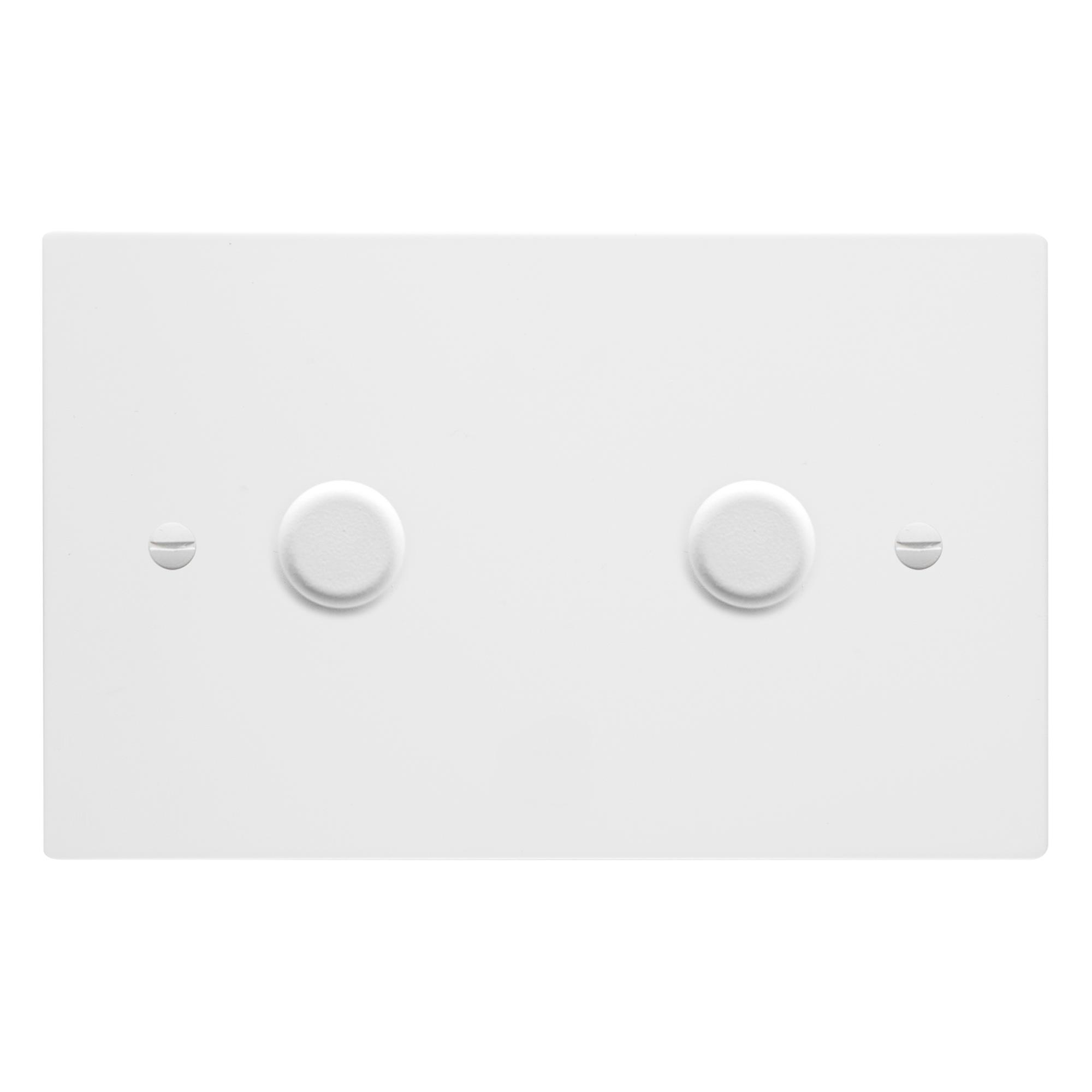 Dimmer Switch 2 gang 400 watt double plate Primed White | Wireless ...