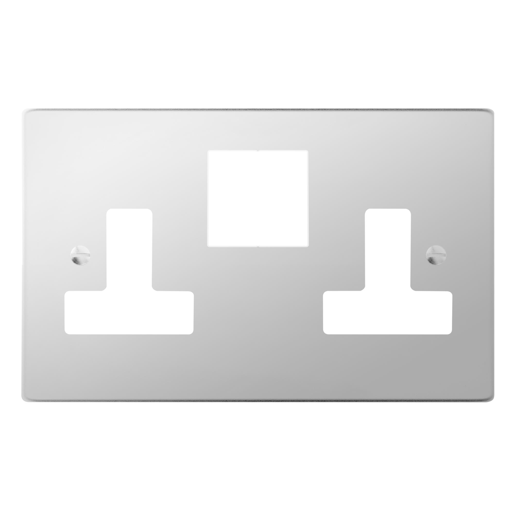Socket Plate Delectable Switched Socket Outlet 2 Gang 13 Amp Plate Only Polished Review