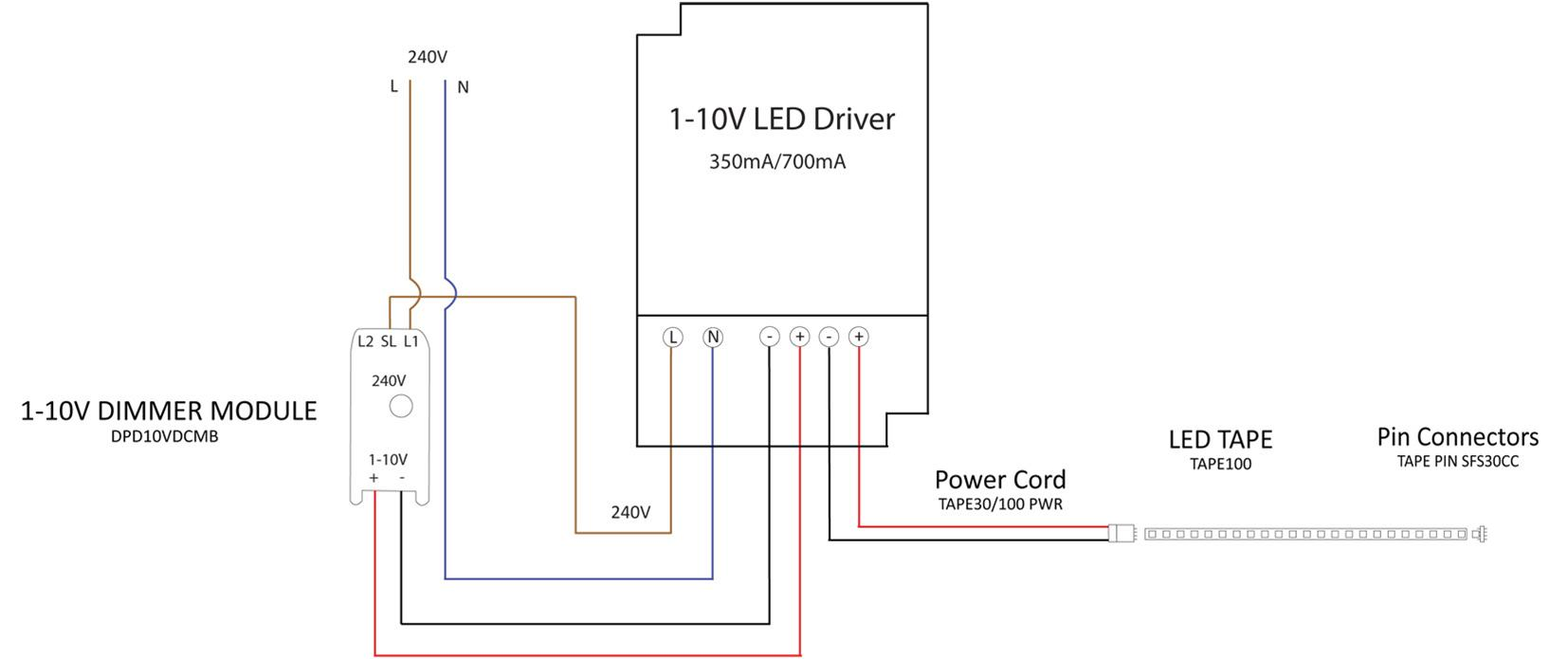 1 10v Dimmable Led Driver Constant Voltage White 42w 24v Wiring Diagram For Strips