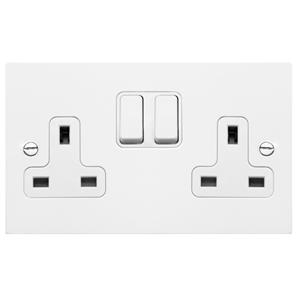 Wall Socket White Switch 2 gang 13 amp switch socket outlet Satin White Aluminium
