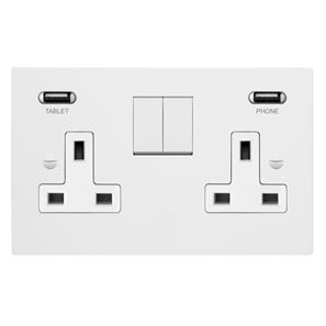 Horizon Switched Socket Outlet with USB Chargers 2 gang 13 amp Primed White