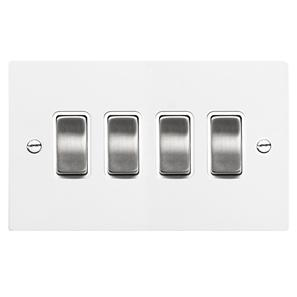 Rocker Aluminium Switch 4 gang rocker switch 20 amp 2 way Satin White Aluminium