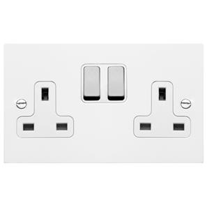 Wall Socket Aluminium Switch 2 gang 13 amp switch socket outlet Satin White Aluminium