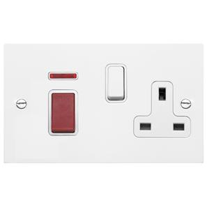 Cooker Switch 2 gang plate 45 amp cooker switch socket outlet  Satin White Aluminium