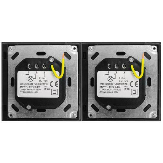 Wise Fusion Smart Dimmer Master Wired 1 x 1 Gang + 1 x 2 Gang 240V Black 1 x 450W, 2 x 250W