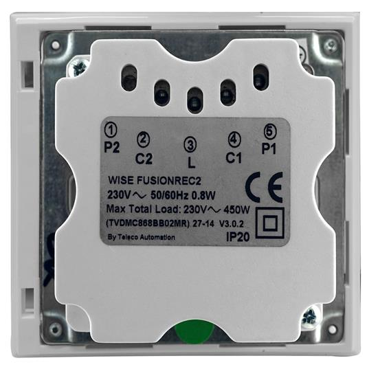 Wise Fusion Smart Dimmer Master Wired 2 Gang 240V Polished Stainless Steel 2 x 250W