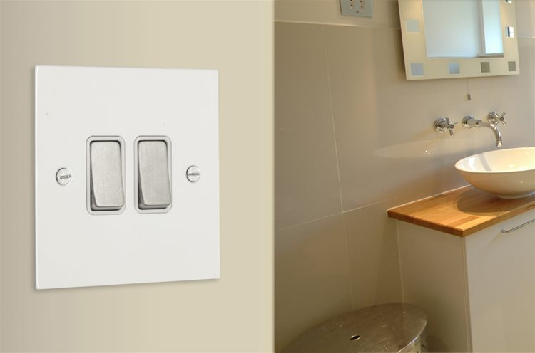 Wall Socket White Switch 1 gang 13 amp switch socket outlet Satin White Aluminium Example