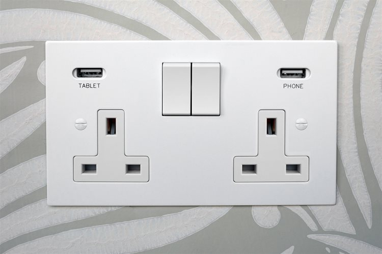 Switched Socket Outlet 2 gang 13 amp Primed White Example